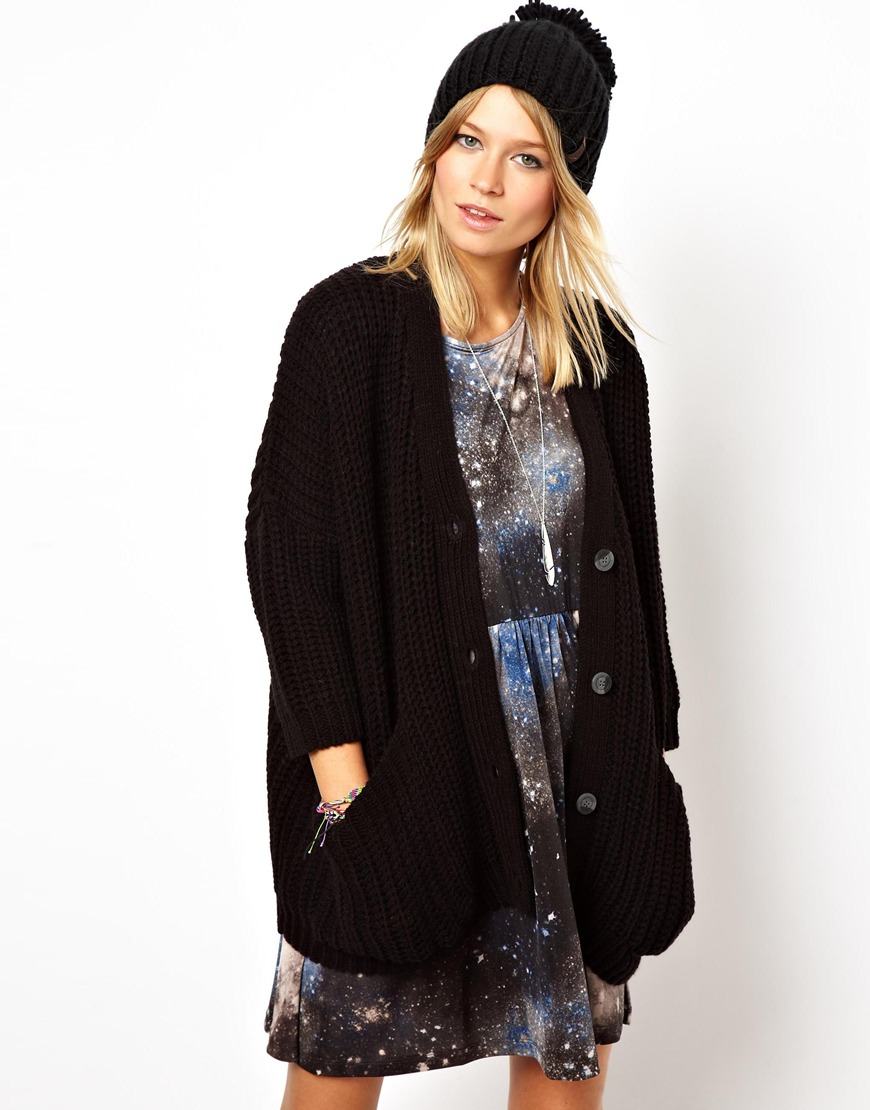 Asos Big Pocket Cardigan in Black | Lyst