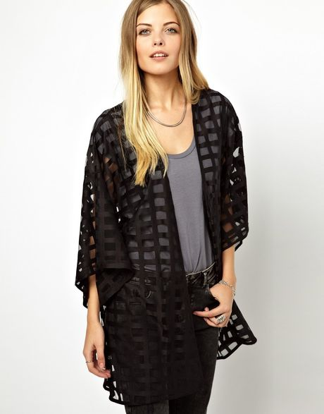 Asos Kimono in Sheer Grid Fabric in Black - Lyst