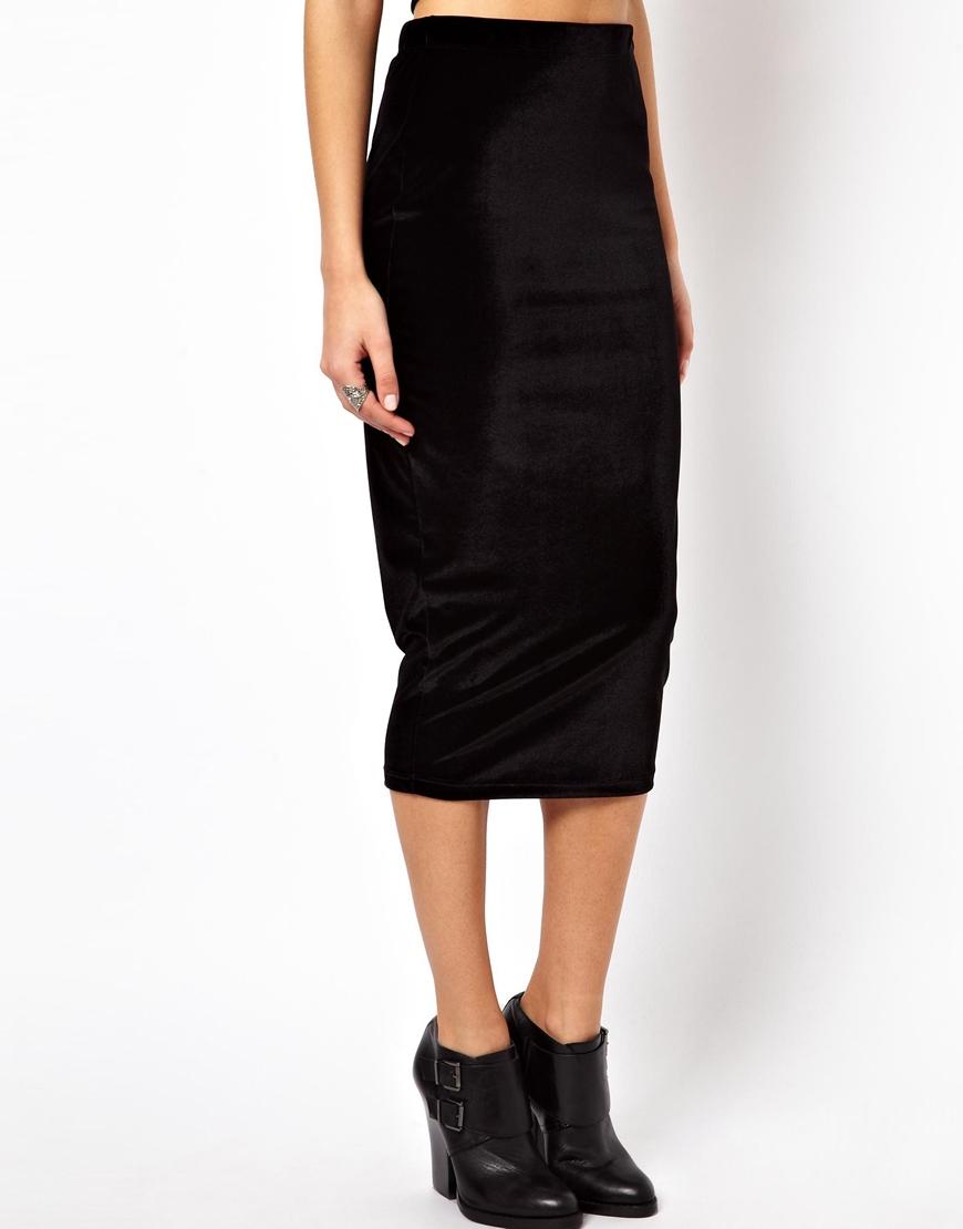 of pearl asos velvet pencil skirt in black lyst
