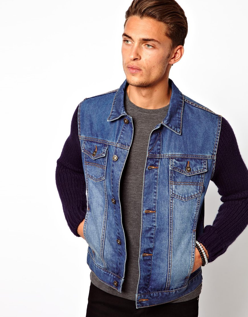 Jean Jacket Leather Sleeves