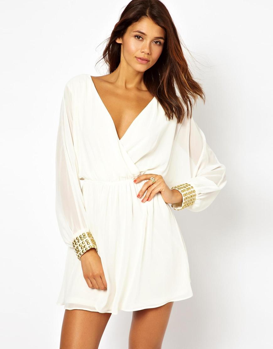 Asos Cuff Wrap Dress in White | Lyst