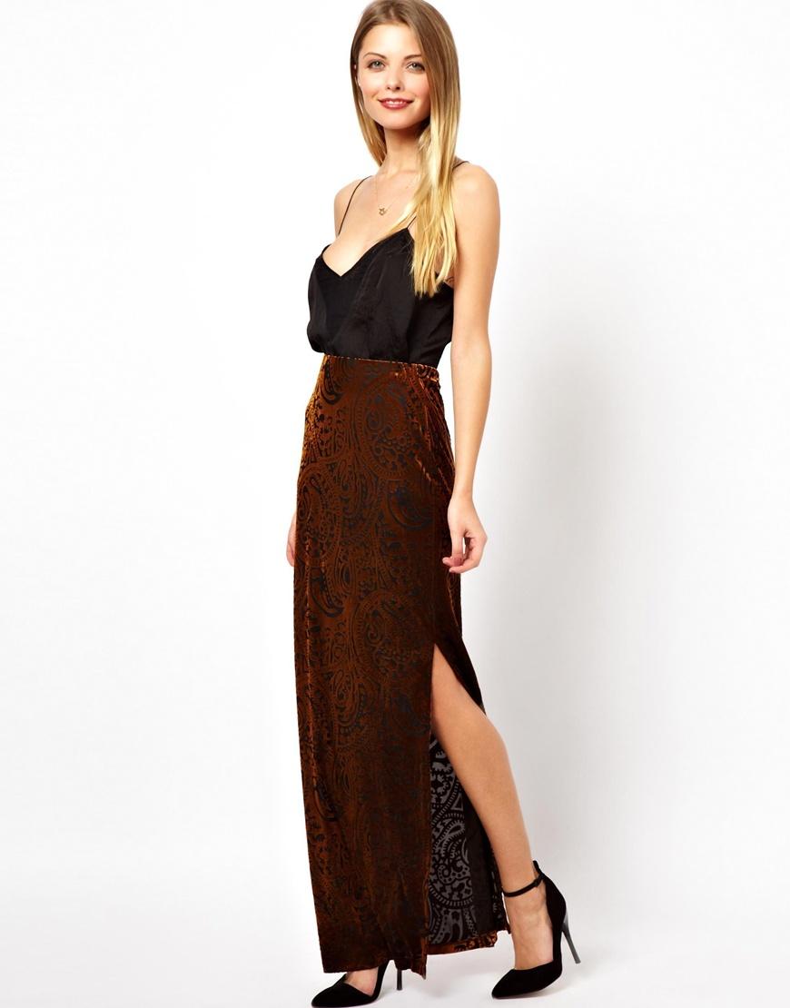 Velvet skirt maxi dress