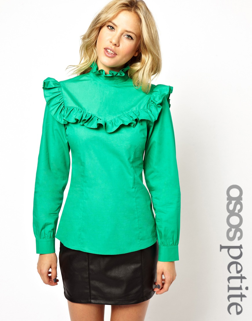 60915587a3781 Lyst - ASOS Exclusive Vintage Frill Blouse in Green