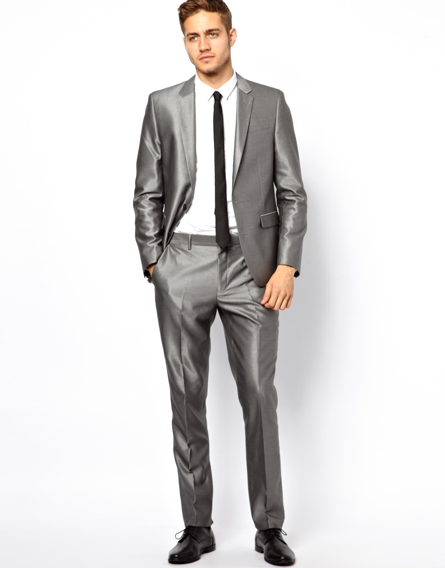 Rvca Asos Slim Fit Suit Pants in Silver in Gray for Men | Lyst