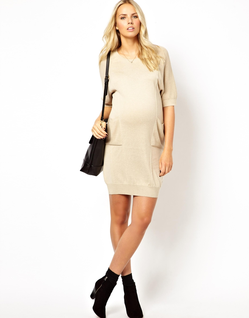 Lyst Asos Exclusive Jumper Dress In Cocoon Shape In Natural