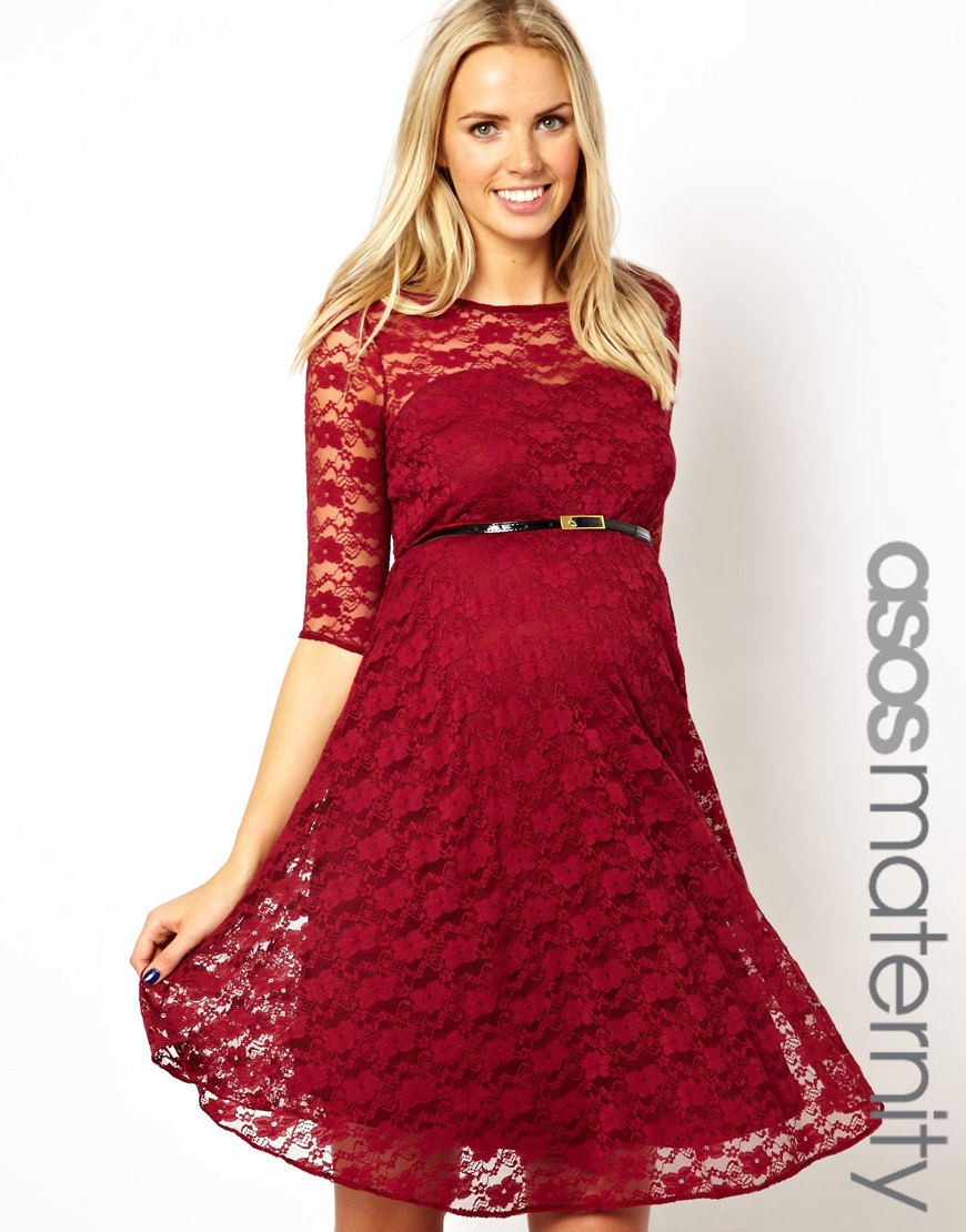 Lyst Love Moschino Asos Maternity Lace Skater Dress With