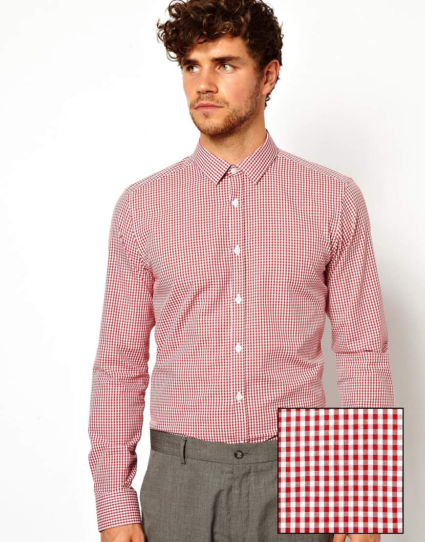 Mens Brown And White Gingham Shirts Chad Crowley Productions