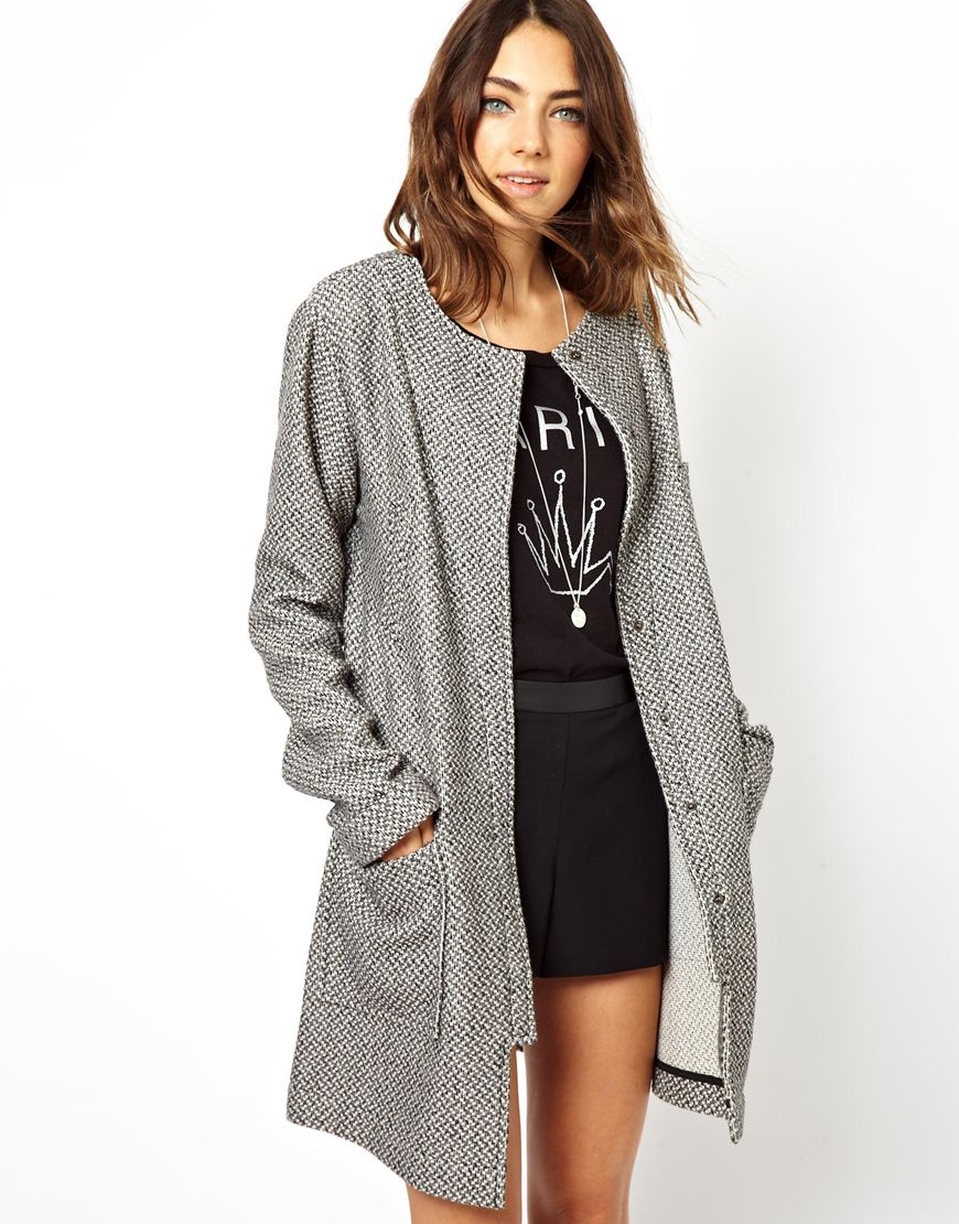 Asos popper front coatigan in gray stone lyst