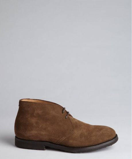 brunello cucinelli brown suede lace up chukka boots in