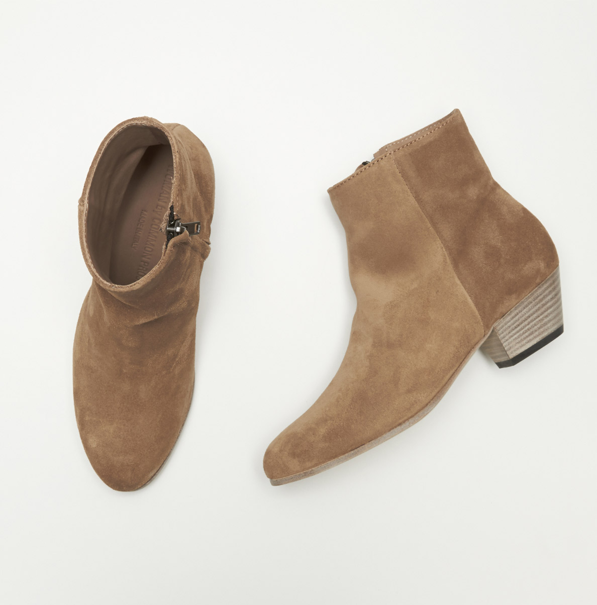 Common projects Zip-Up Suede Ankle Boots in Brown | Lyst