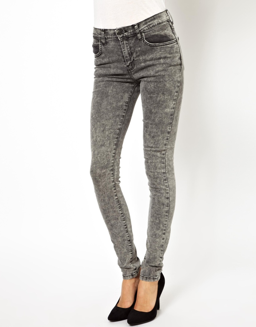 Dr. denim Regina High Waist Skinny Jeans in Gray | Lyst