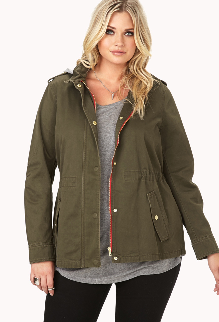 Forever 21 Desert Darling Hooded Utility Jacket in Green ...