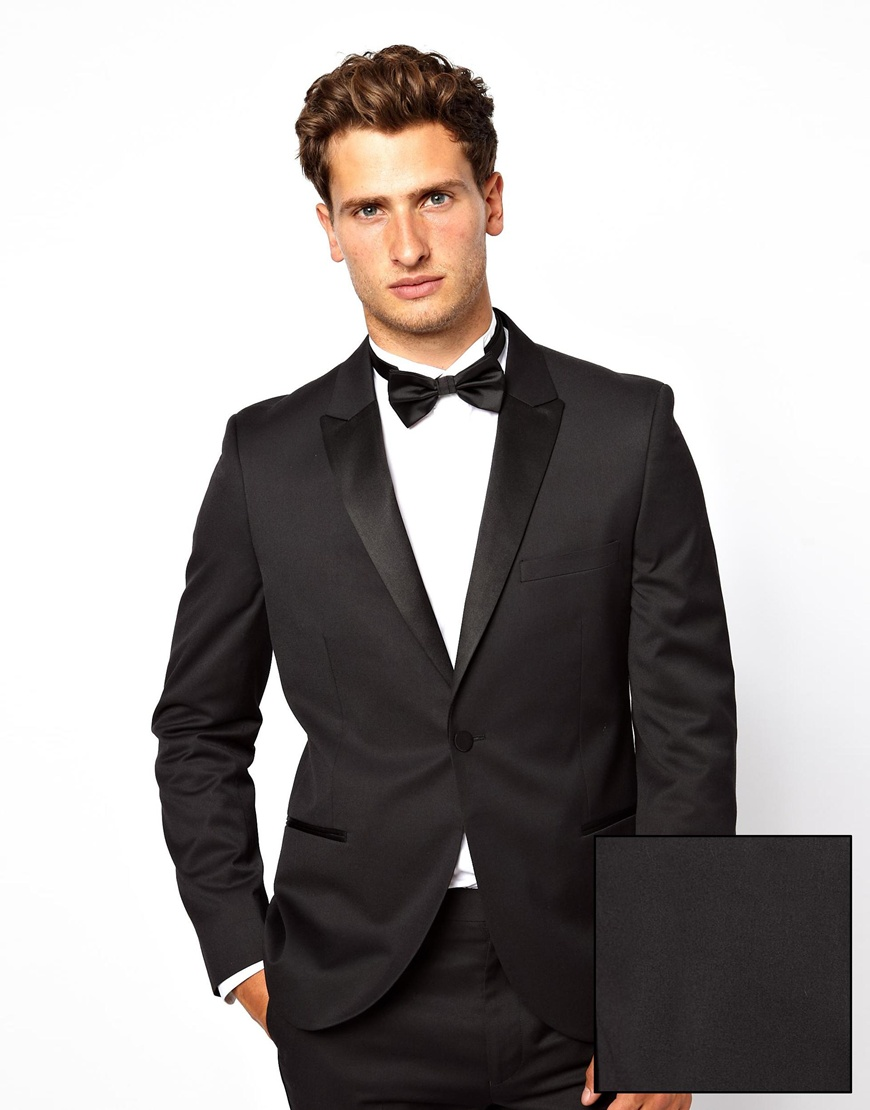 French connection Slim Fit Tuxedo Suit Jacket in Black for Men | Lyst