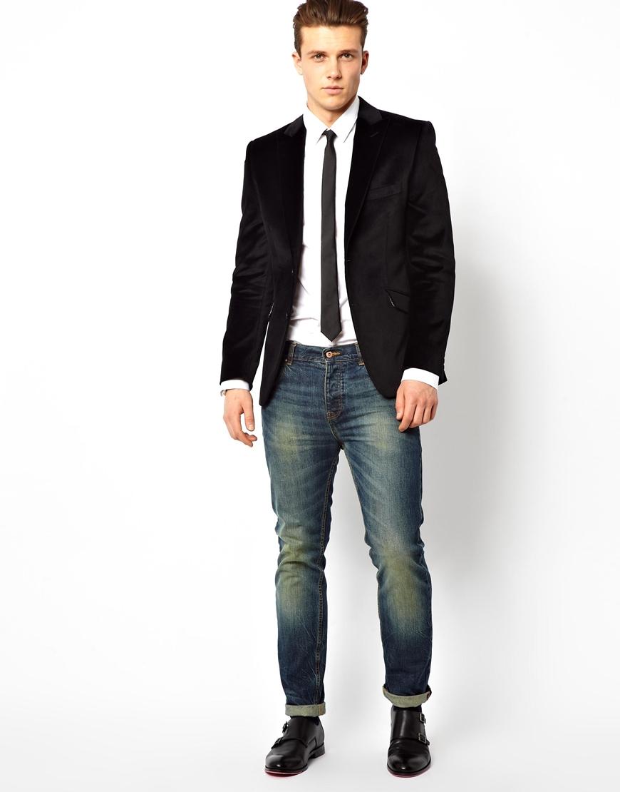 Lambretta Velvet Blazer in Black for Men | Lyst