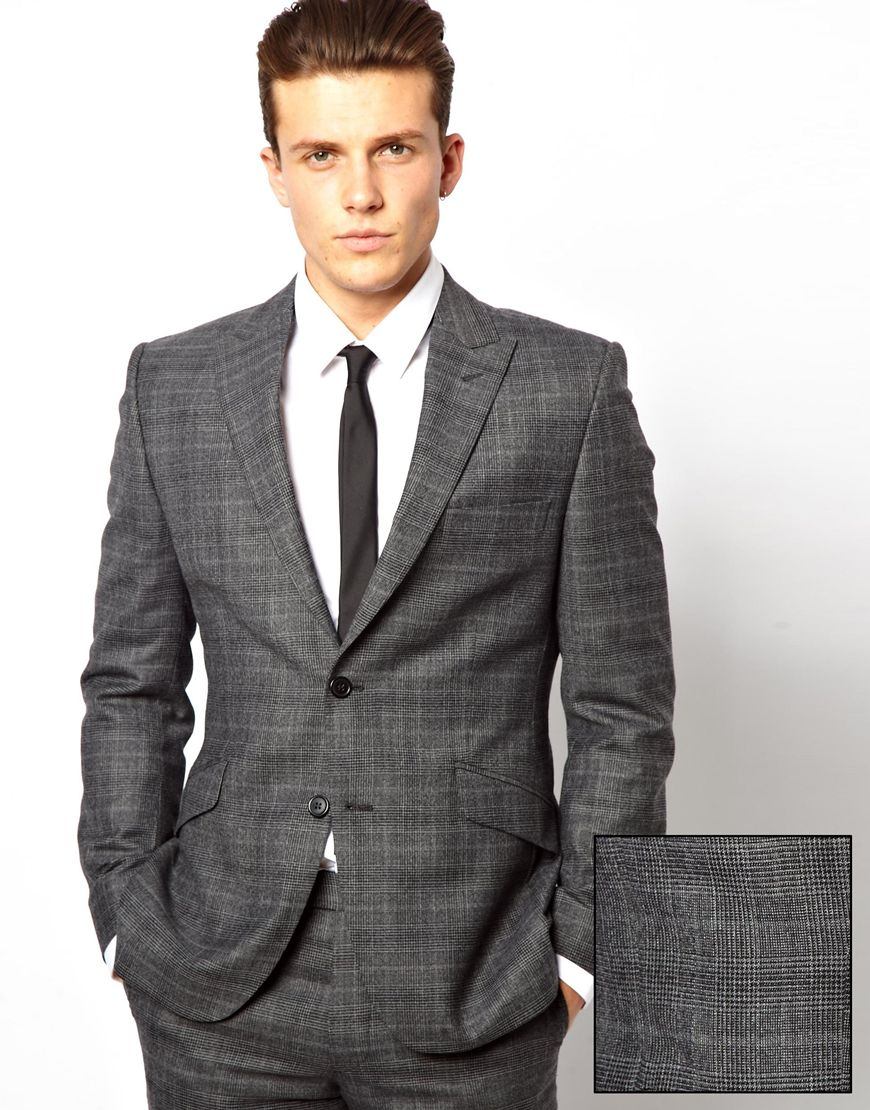 Lambretta Check Suit Jacket in Gray for Men | Lyst