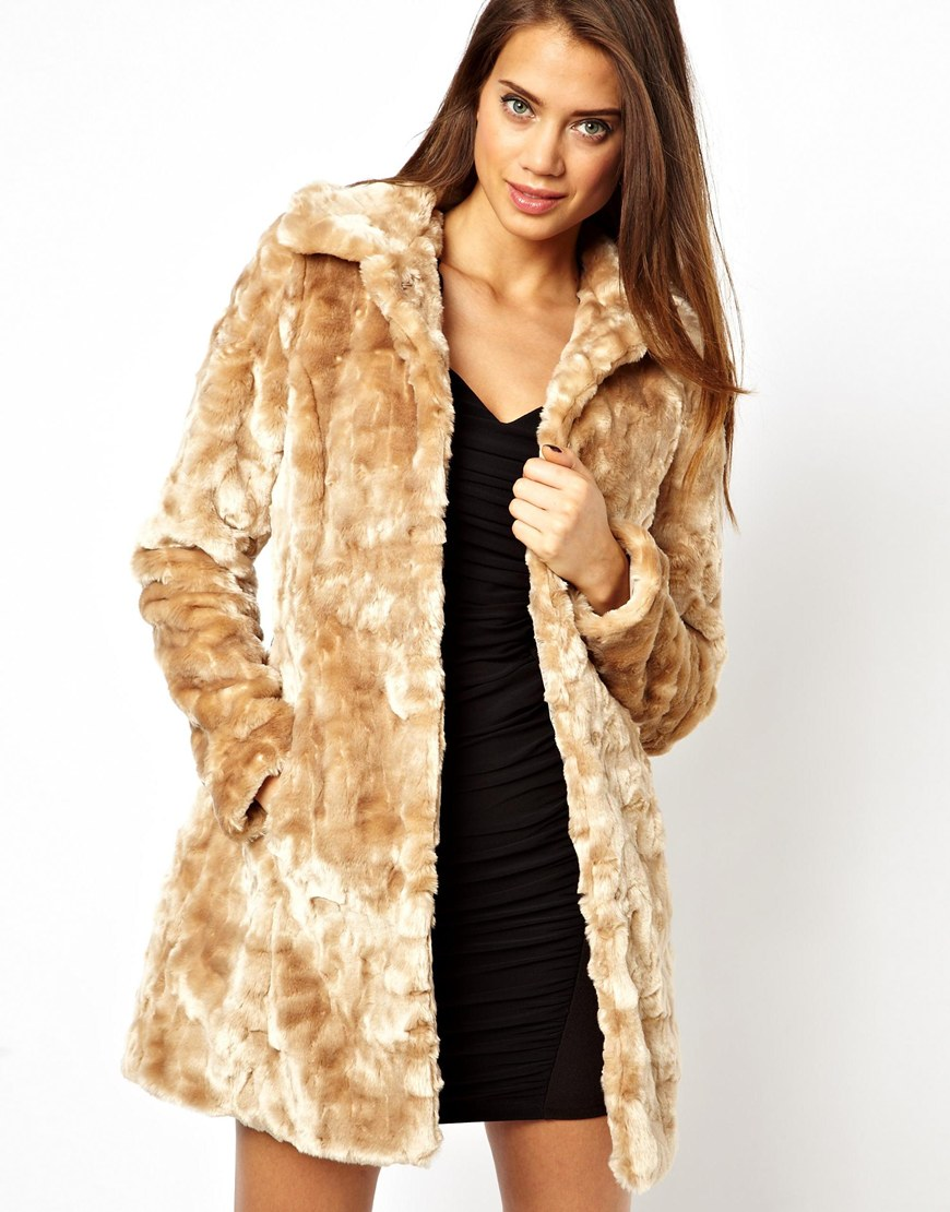 Lipsy Belted Faux Fur Coat in Natural | Lyst