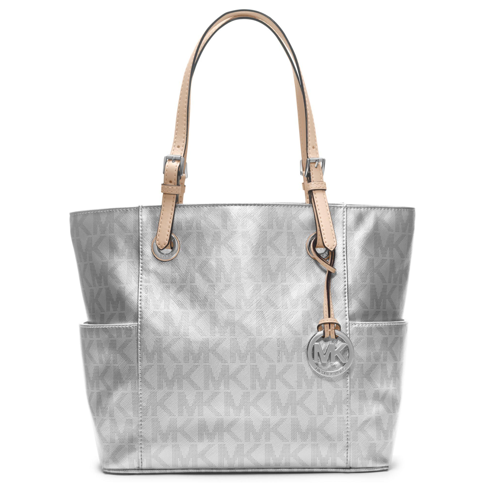 michael kors silver monogram handbags