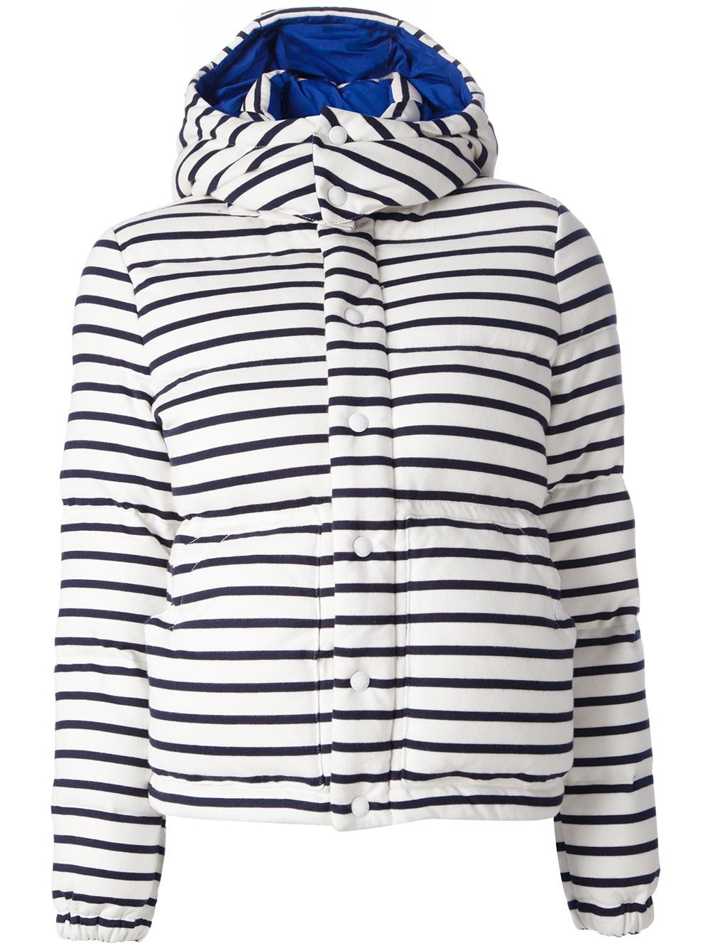 Petit Bateau Striped Padded Jacket In White Lyst