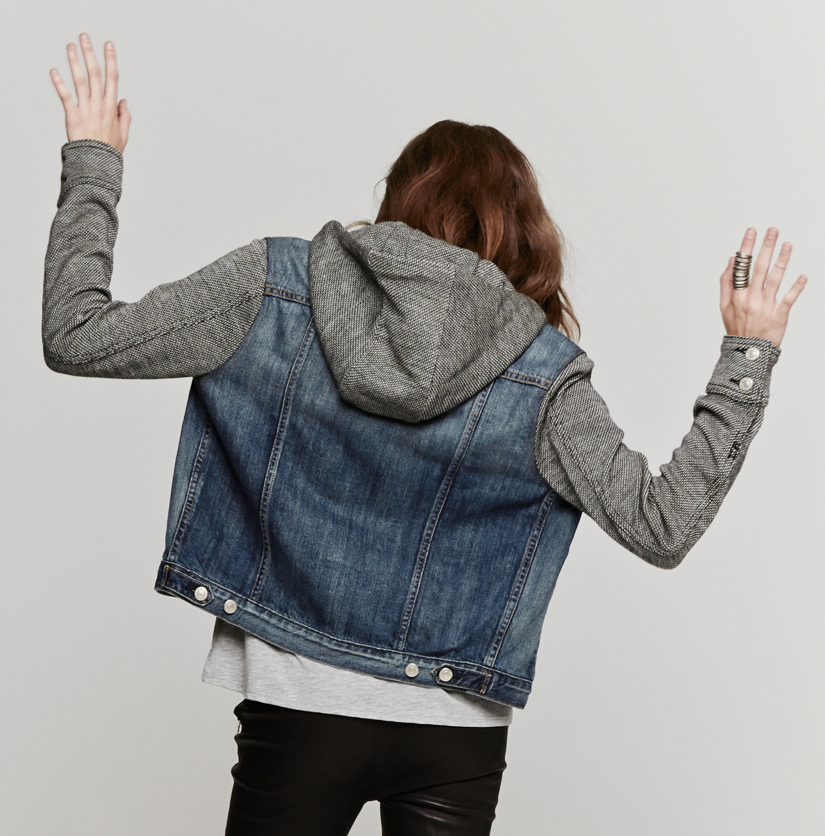 Womens denim jacket with grey hoodie – Modern fashion jacket photo ...