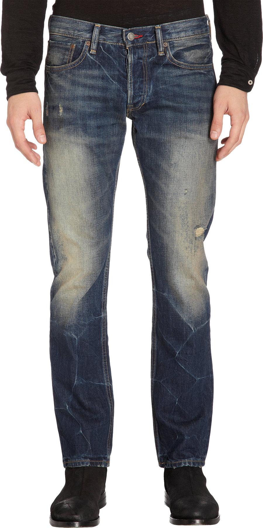 Ralph Lauren Black Label Heavy Fade Jeans In Yellow For Men | Lyst