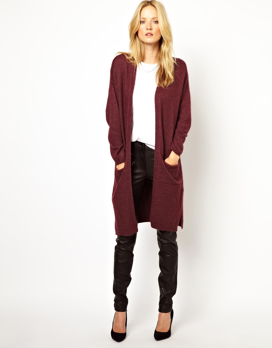 Asos Longline Knitted Cardigan in Oversized Fit in Red ...