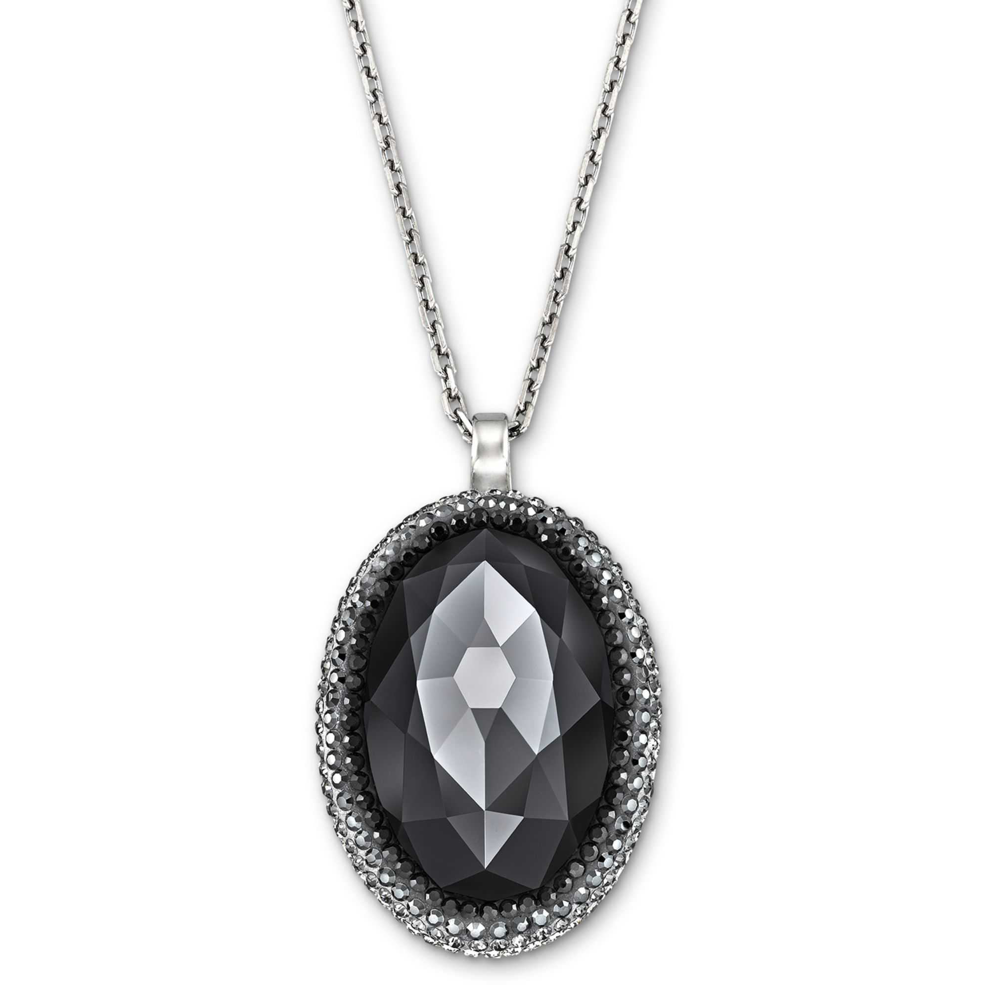 lyst swarovski palladiumplated black crystal oval