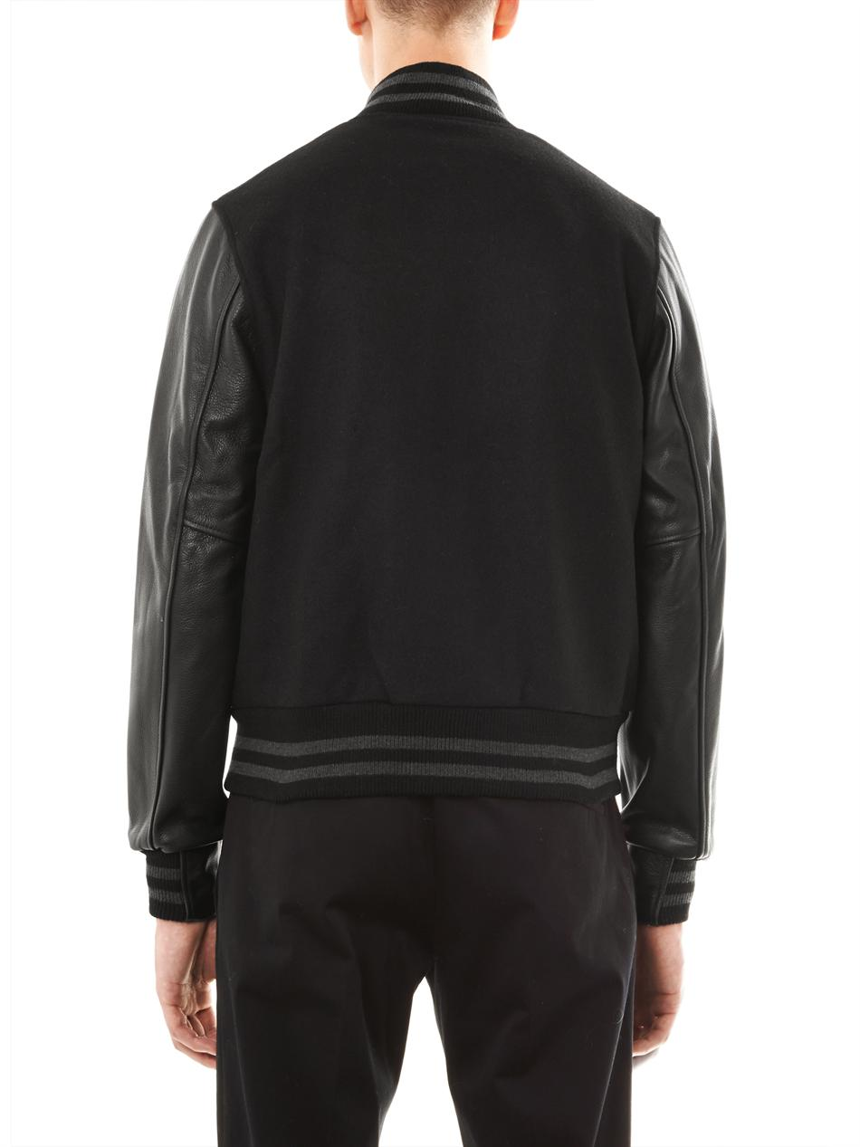 Lyst The Brooklyn Circus Leather Sleeve Varsity Jacket In Black