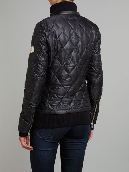 true religion quilted jacket with ribbed lining in black lyst. Black Bedroom Furniture Sets. Home Design Ideas