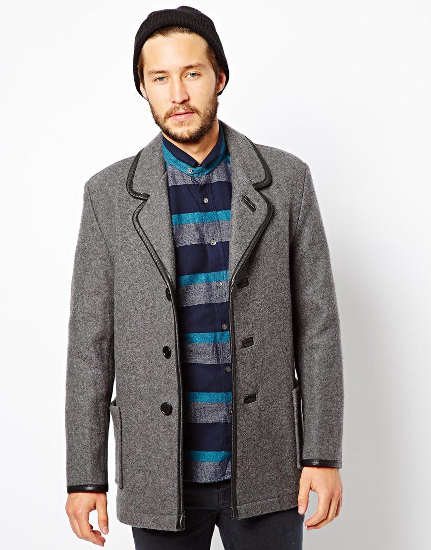 Ymc X Gloverall Wool Car Coat in Gray for Men   Lyst
