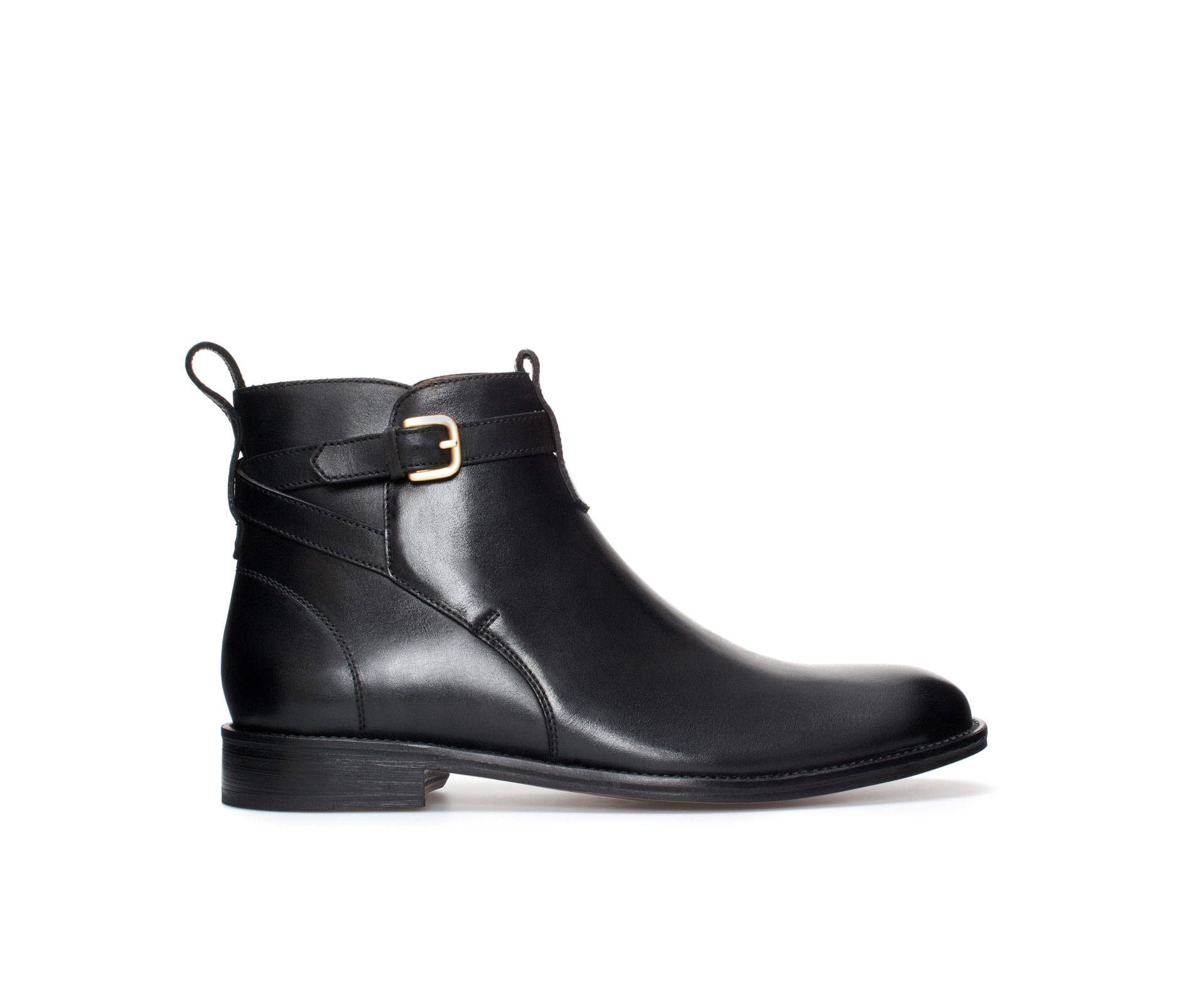 Zara Leather Ankle Boot with Buckle in Black for Men | Lyst