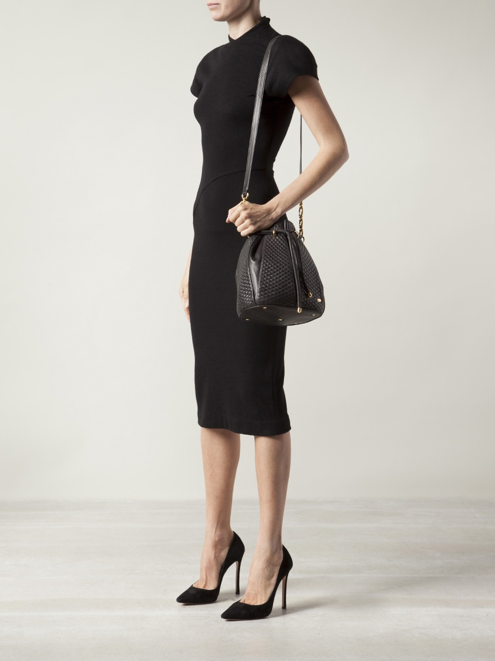 Bally Quilted Leather Drawstring Bag in Black | Lyst : bally quilted bag - Adamdwight.com