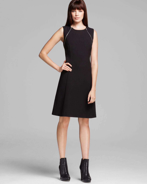 948f06cc4f4 Calvin Klein Zipper Shoulder Detail Fit and Flare Dress Sleeveless ...