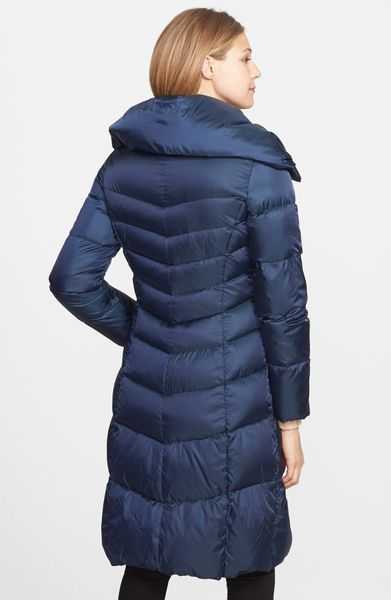 Cole Haan Pillow Collar Packable Down Feather Coat In Blue