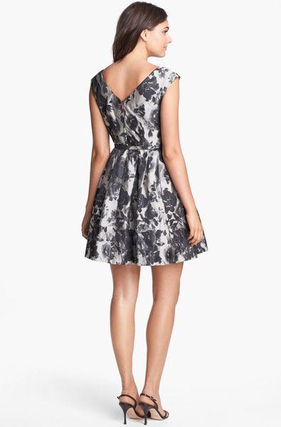 Eliza J Embellished Jacquard Fit Flare Dress In Floral