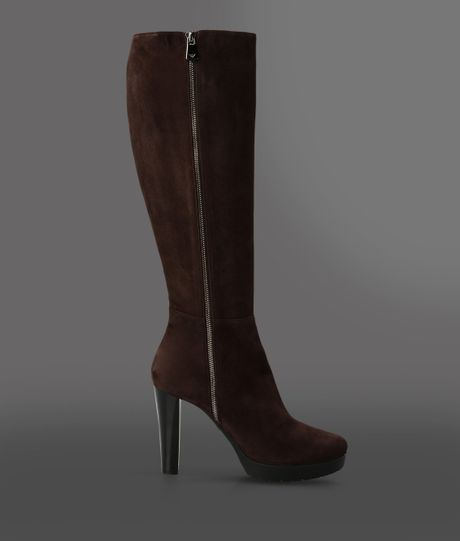 emporio armani high heeled boots in brown brown lyst