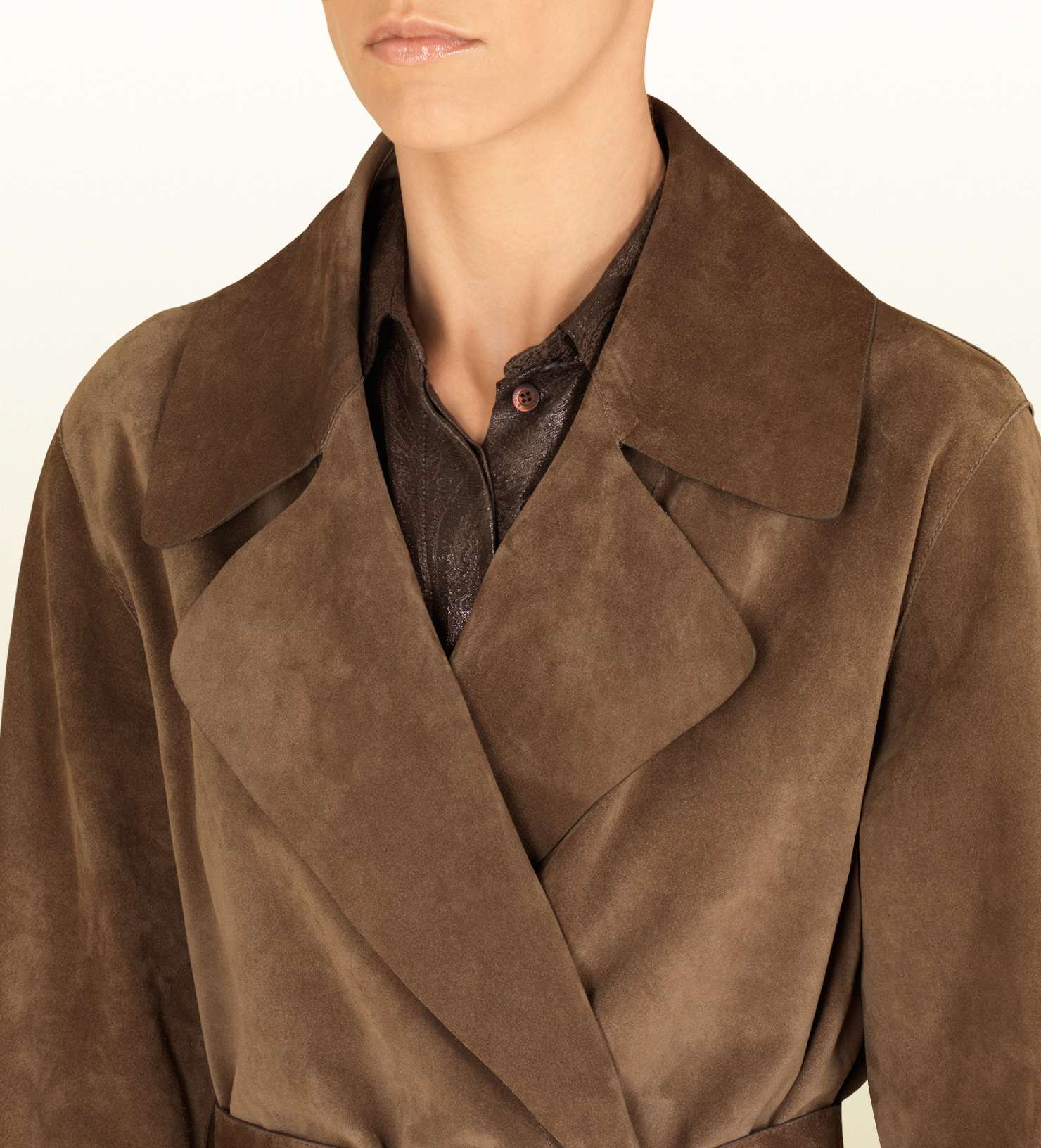 c4ad44eb9 Gucci Ash Brown Suede Belted Trench Coat in Brown for Men - Lyst