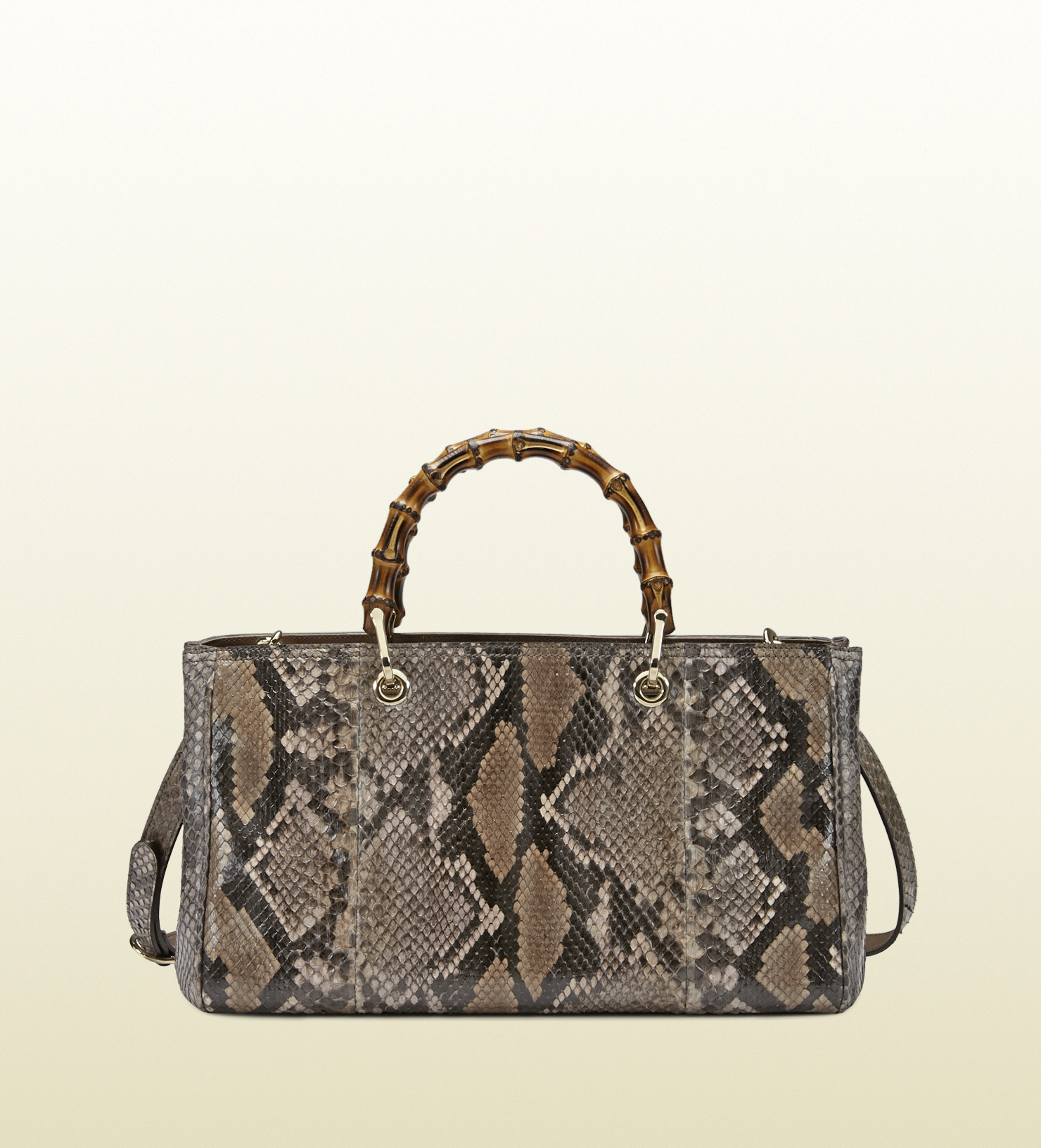 gucci bamboo shopper python tote in brown lyst. Black Bedroom Furniture Sets. Home Design Ideas