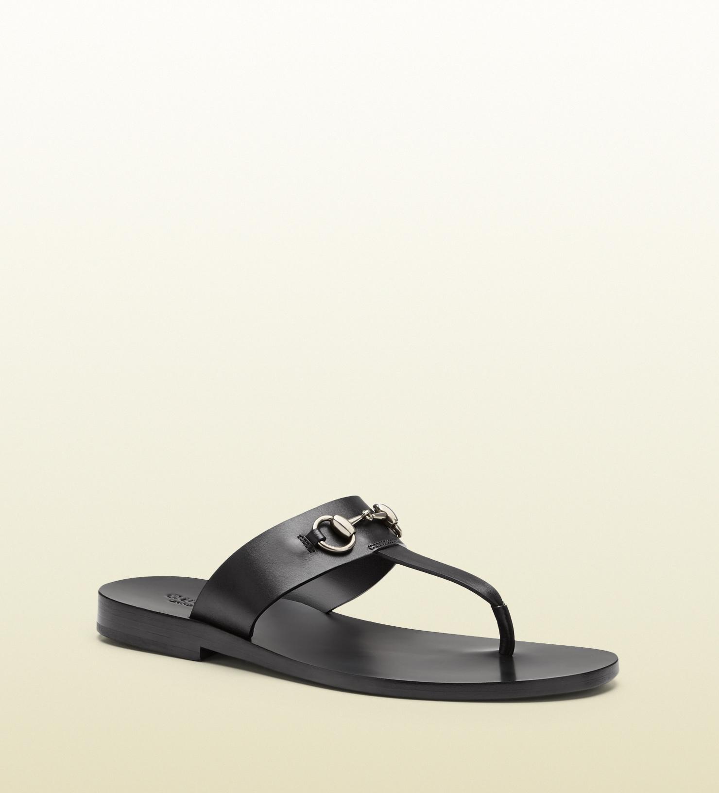 11f7a1a61544 Lyst - Gucci Leather Horsebit Thong Sandal in Black