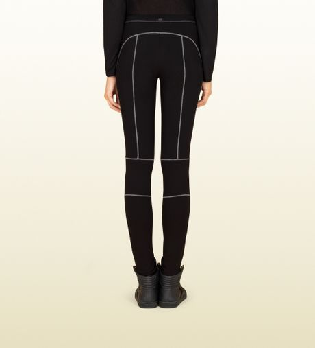 Gucci Womens Black Felted Cotton Leggings From Viaggio Collection in Black | Lyst