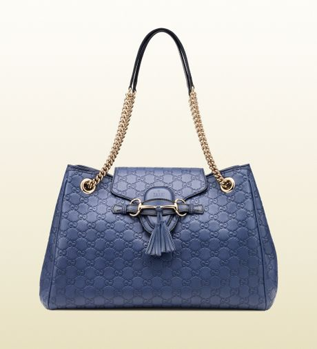 Gucci Emily Ssima Leather Shoulder Bag in Blue