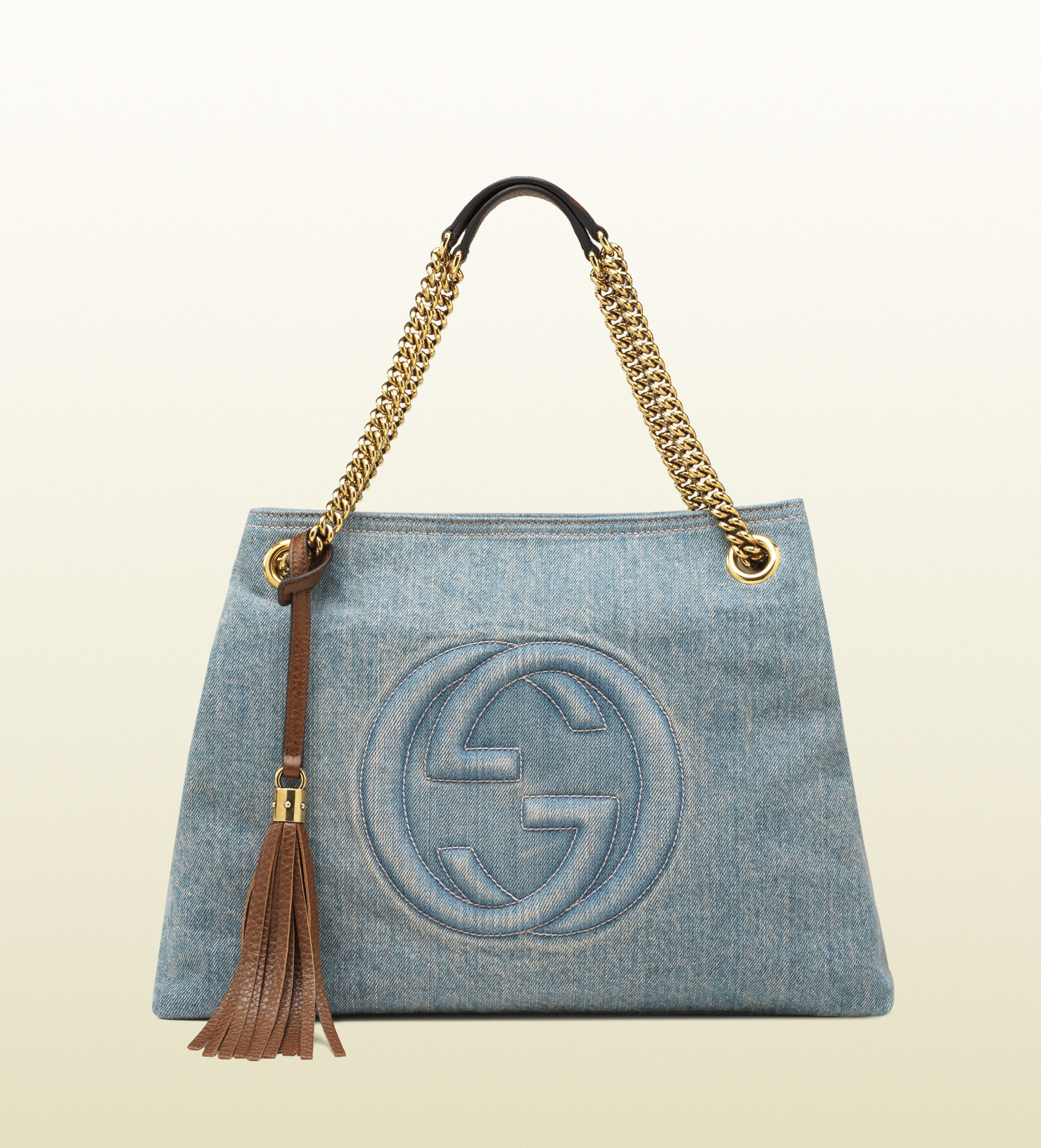 gucci soho denim shoulder bag in blue lyst. Black Bedroom Furniture Sets. Home Design Ideas