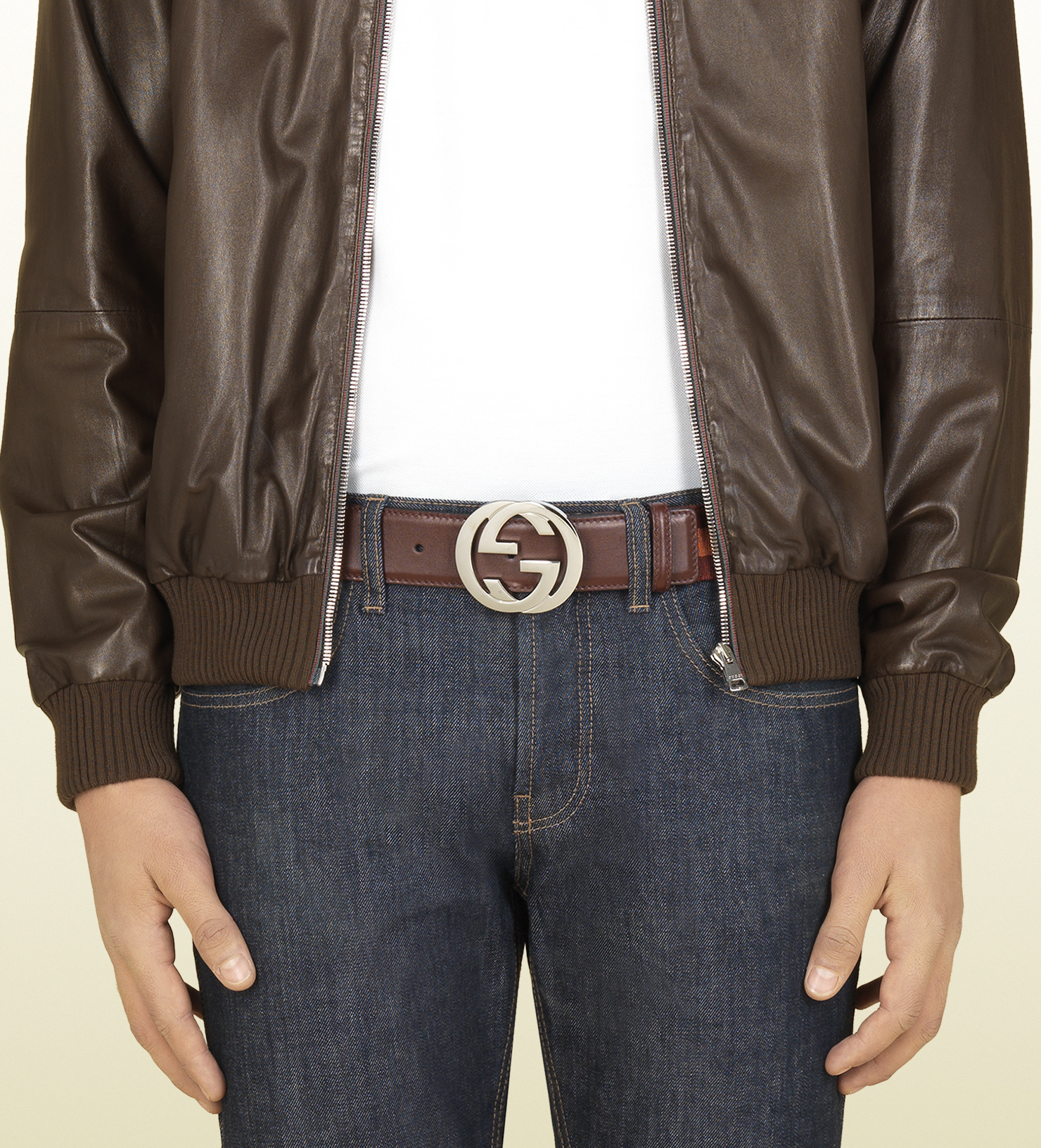 2650e1351cf Lyst - Gucci Belt with Interlocking G Buckle in Brown for Men