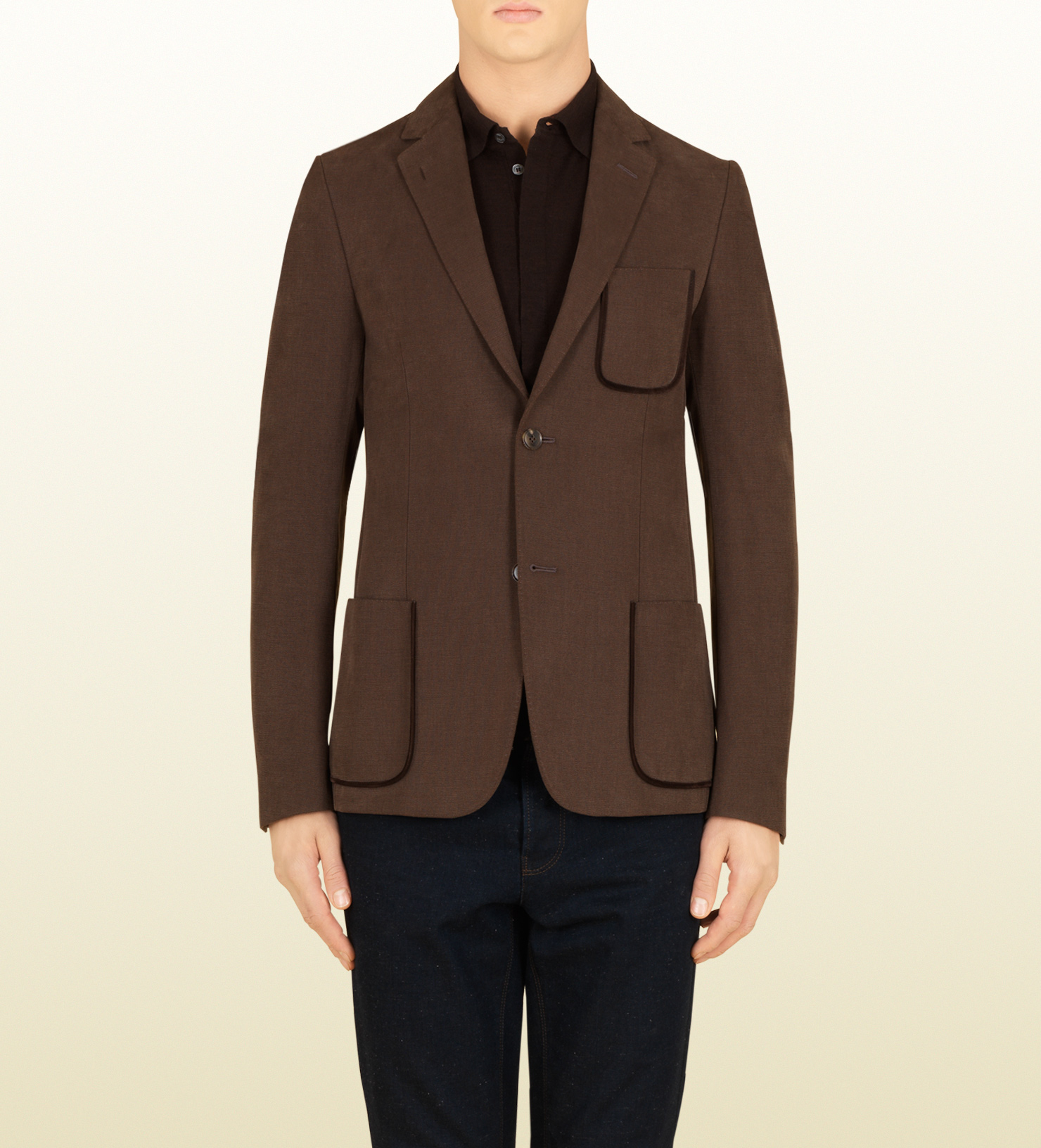 Gucci Canvas Cotton Cardigan Jacket in Brown for Men | Lyst