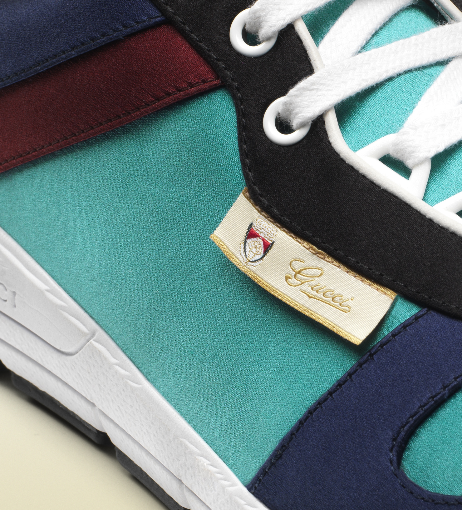 daf661fa9 Gucci Multicolor Satin Lace-up Sneaker in Blue for Men - Lyst