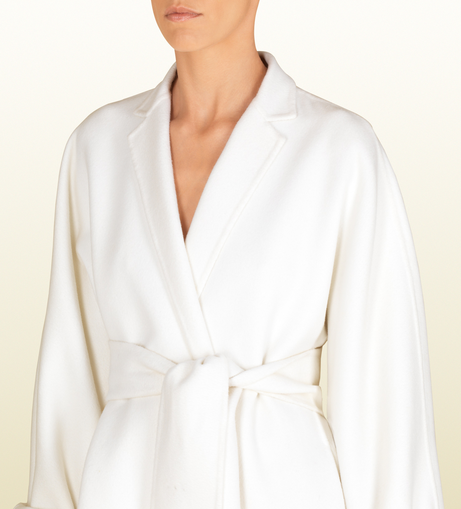 Lyst Gucci Natural White Wool Deconstructed Wrap Coat In