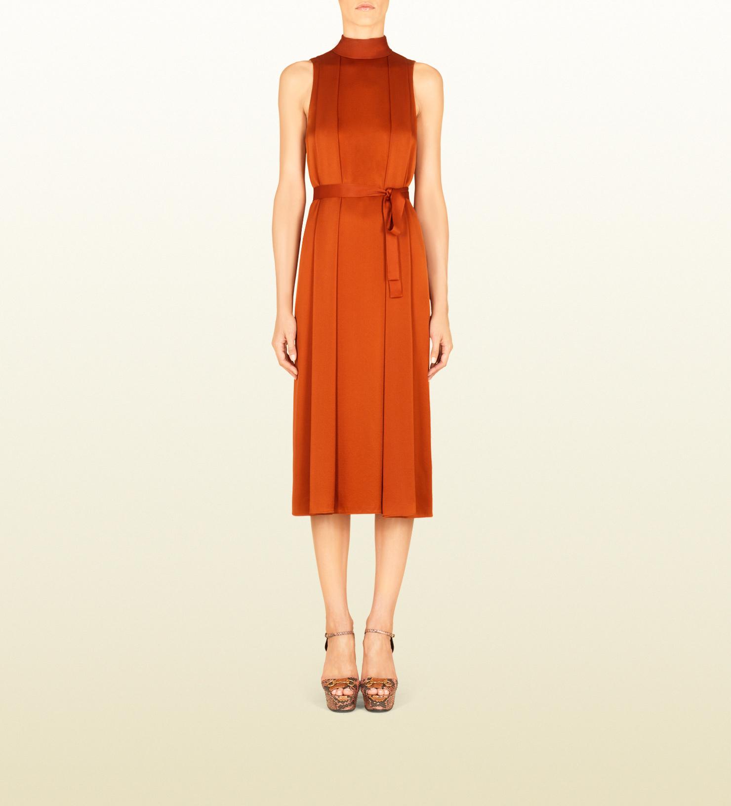 Gucci Hammered Silk Back Neck Tie Dress in Orange | Lyst