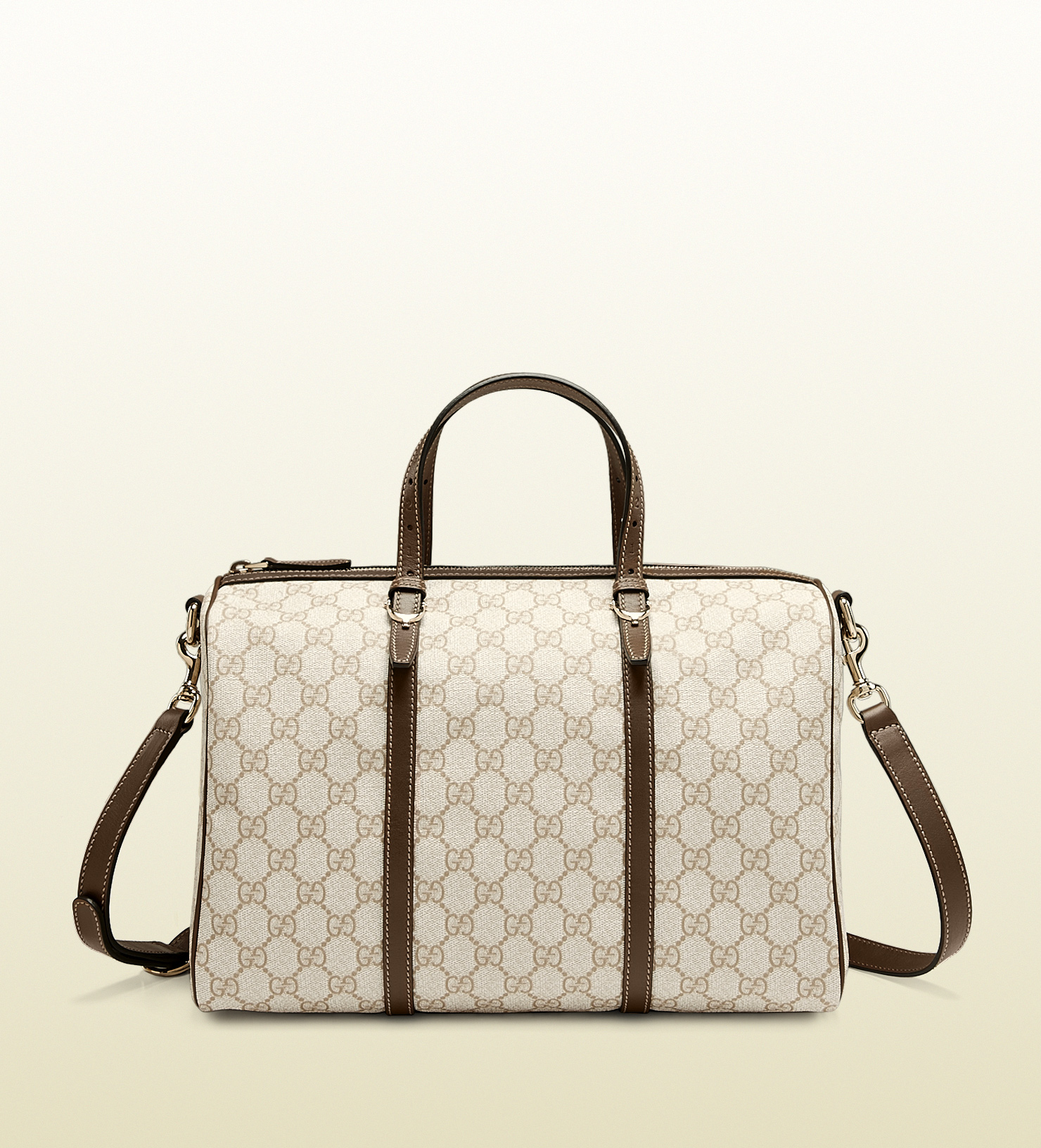 fdfb77802c3d Lyst - Gucci Nice Gg Supreme Canvas Boston Bag in White