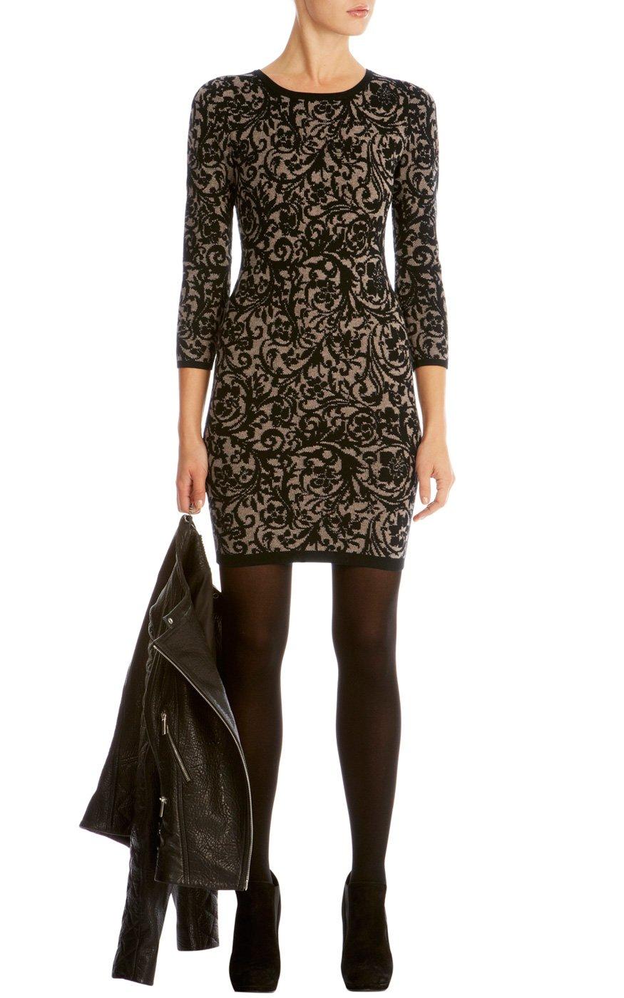 Lyst Karen Millen Brocade Jacquard Knit Dress In Black