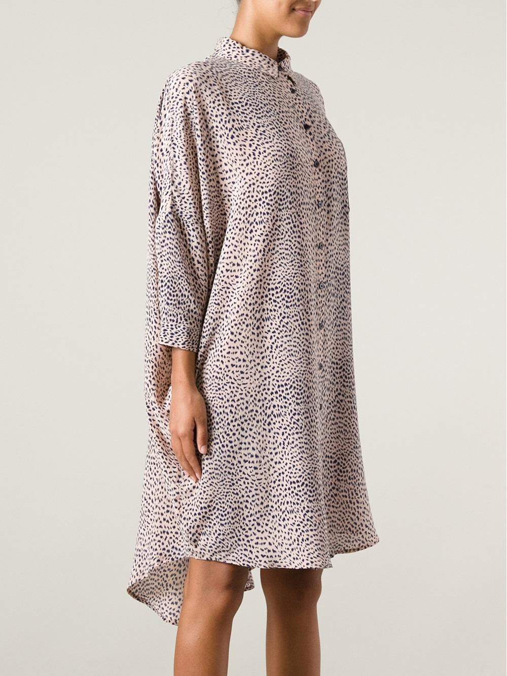 lyst kokoon oversized silk shirt dress in natural