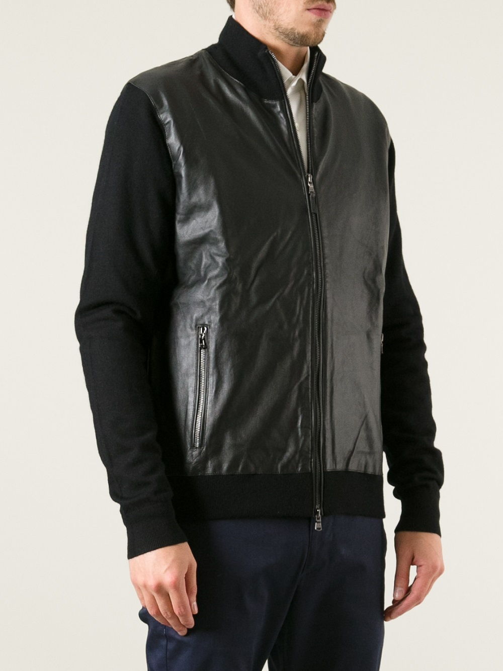 Michael Kors Leather Front Cardigan In Black For Men Lyst